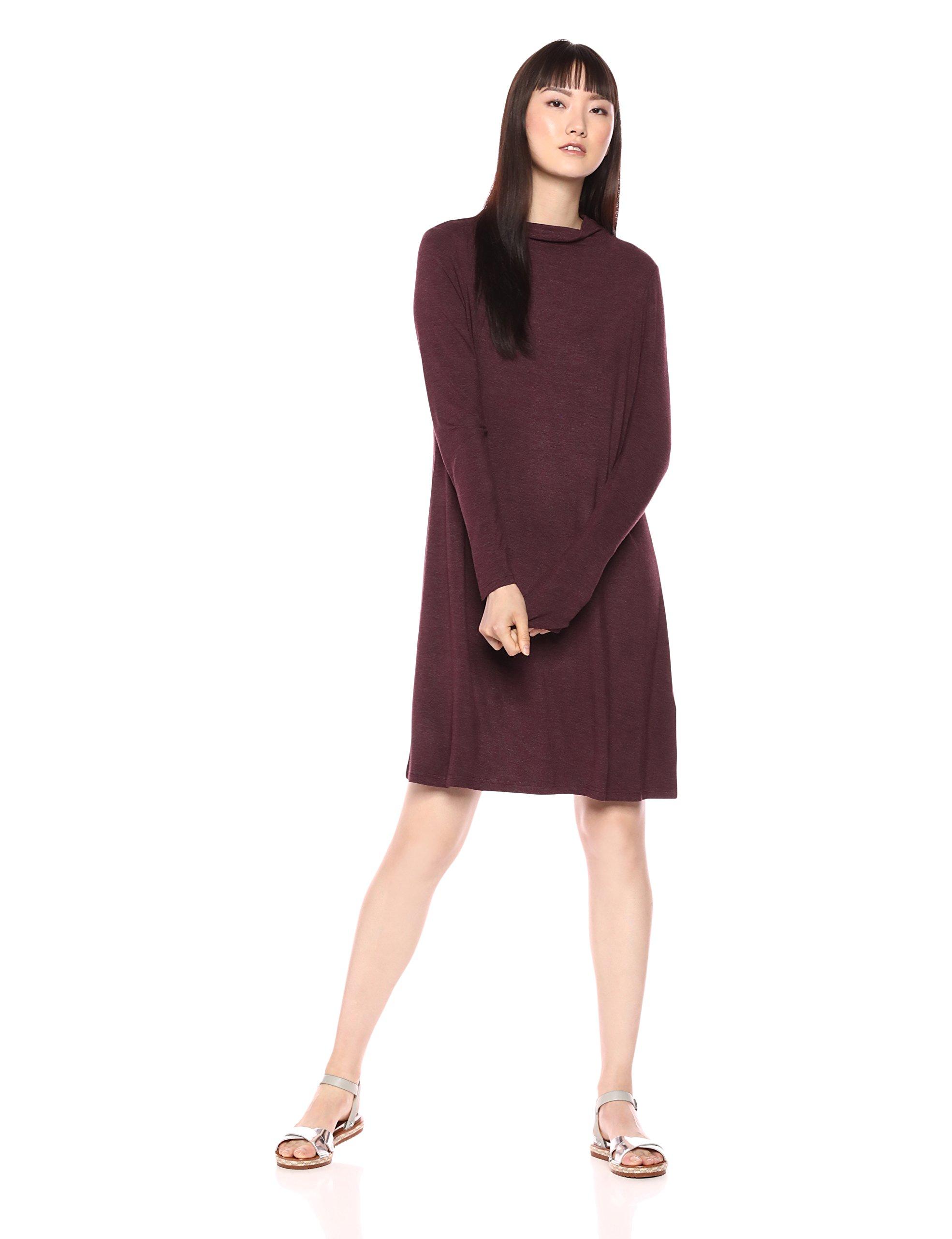 Daily Ritual Women's Jersey Mock-Neck Swing Dress, Purple Heather, Large