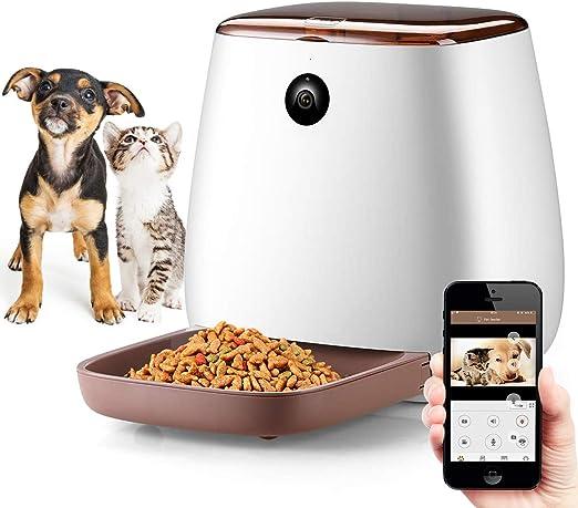 UNIIKE Alimentador automático de Gato con la cámara HD 1080P WiFi, Inteligente automático de alimentación para Mascotas dispensador de Comida para Perros y Gatos, de 12 Comidas (3.3L): Amazon.es: Productos para mascotas