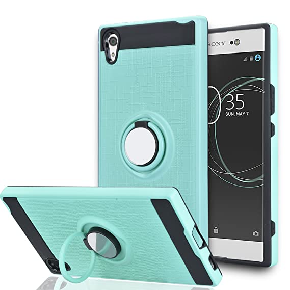 sports shoes b1edb dcc52 Sony Xperia XA1 Ultra Case with HD Screen Protector,Ymhxcy 360 Degree  Rotating Ring & Magnetic Bracket Rubber Dual Layer Shock Bumper Resistant  Back ...