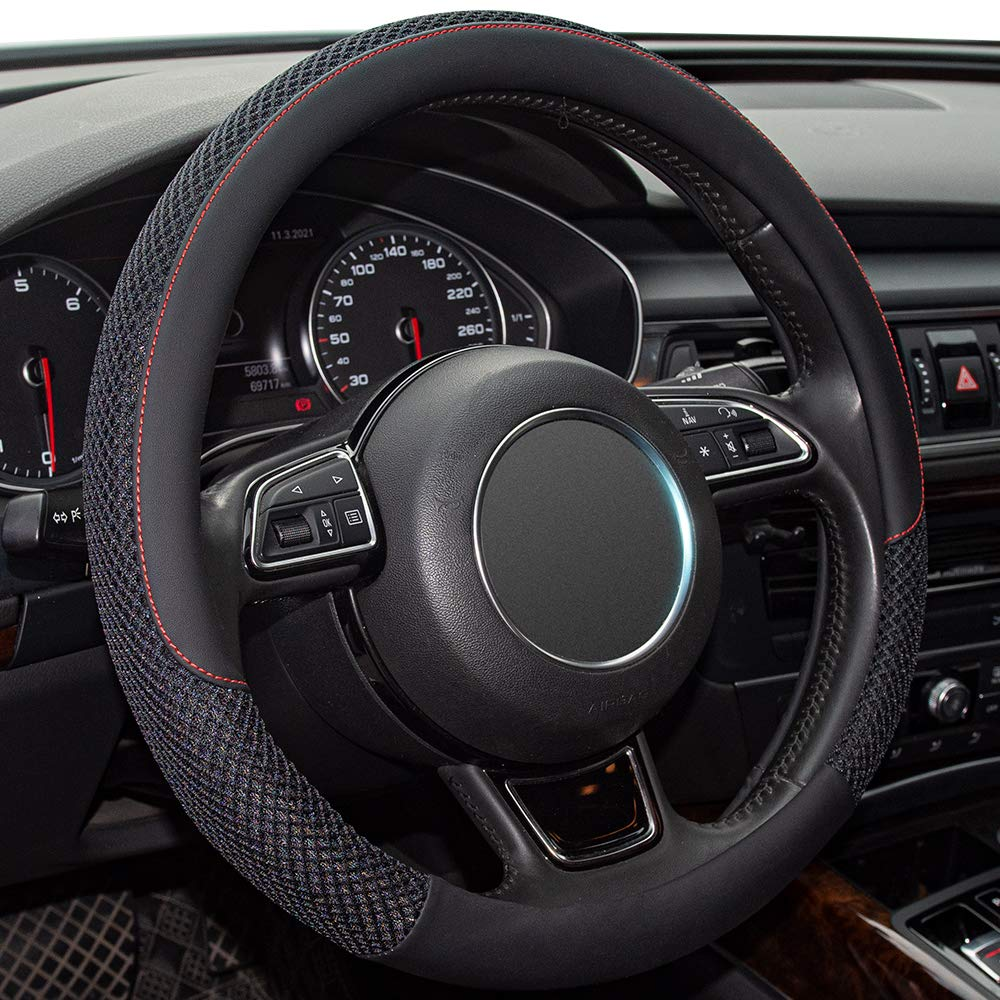 Universal Steering Wheel Cover with Microfiber Leather for Car Truck SUVBreathable,Anti-Slip Steering