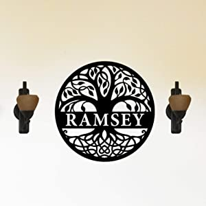 Tree of Life Themed Unique Steel Personalized Metal Wall Sign Wall Art Customized with Last Name - Indoor or Outdoor