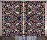 Paisley Curtains Historical Moroccan Florets with Slavic Effects Heritage Design Living Room Bedroom Window Drapes 2 Panel Set Royal Blue and Sand Brown