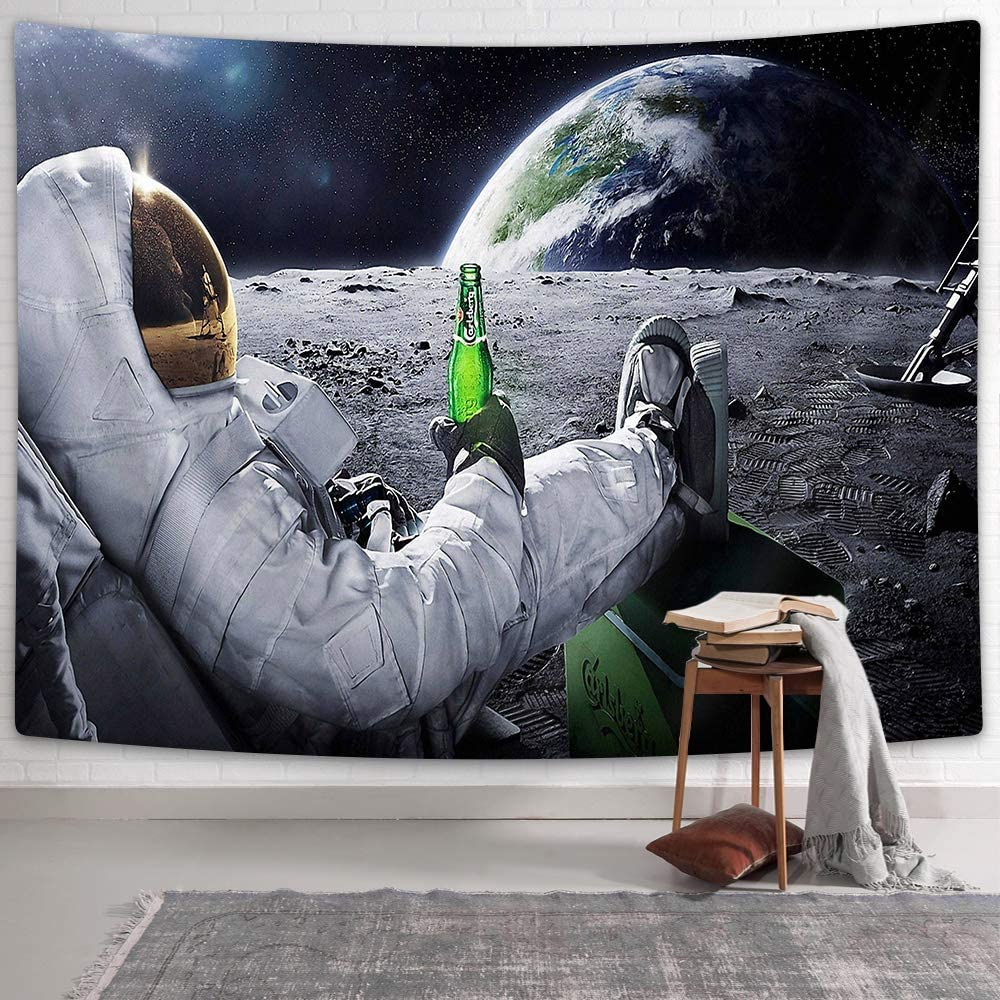 NYMB Funny Astronaut Cool Tapestry for Men, Hippie Tapestry Spaceman with Beer Sitting on Universe Outer Space Planet Tapestries Guy Room Decor, Guys Tapestry Wall Hanging for Bedroom