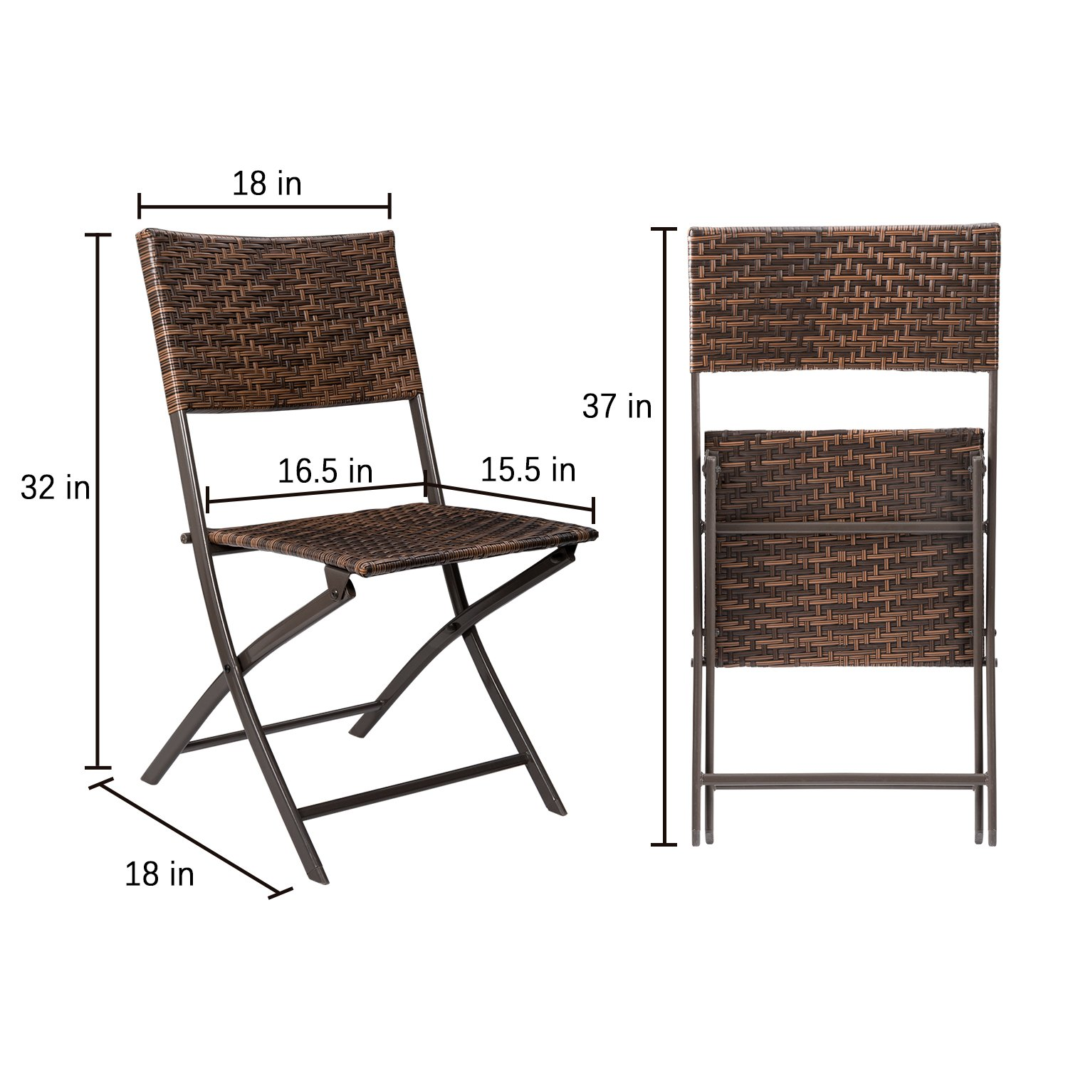 Devoko Rattan Patio Dining Chair 4 Pieces Space Saving Deck Camping Chairs Garden Pool Beach Lawn Using Outdoor Folding Chair (Brown) by Devoko (Image #7)