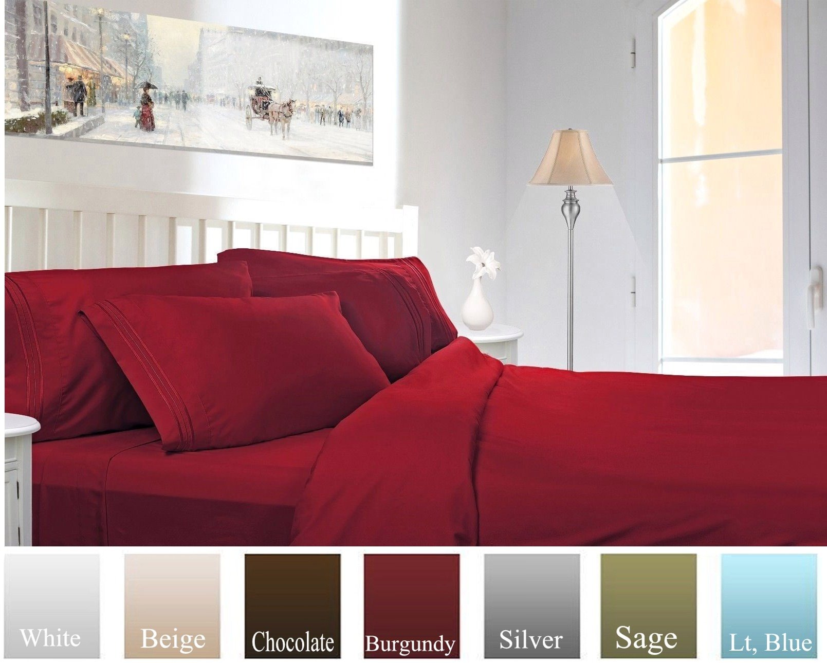 Ruthy's Textile Bed Sheet Set - Hotel Luxury Brushed Microfiber 1800 Bedding - Wrinkle, Fade, Stain Resistant - Hypoallergenic, Soft - Deep Pockets Sheets & Pillow Case Set - 4 Piece (Burgundy, Twin)