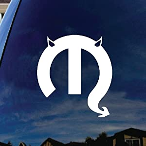 "SoCoolDesign Motor Parts Parody Devil Horns Tail Car Truck Laptop Sticker Decal 5"" Tall (White)"