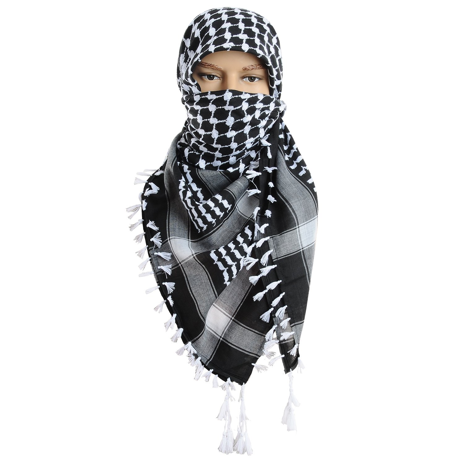 Micoop Large Size Premium Shemagh Scarf Arab Military Tactical Desert Scarf Wrap(48 by 48 inches) (Black White)