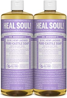 product image for Dr. Bronner's - Pure-Castile Liquid Soap (Lavender, 32 ounce, 2-Pack) - Made with Organic Oils, 18-in-1 Uses: Face, Body, Hair, Laundry, Pets and Dishes, Concentrated, Vegan, Non-GMO