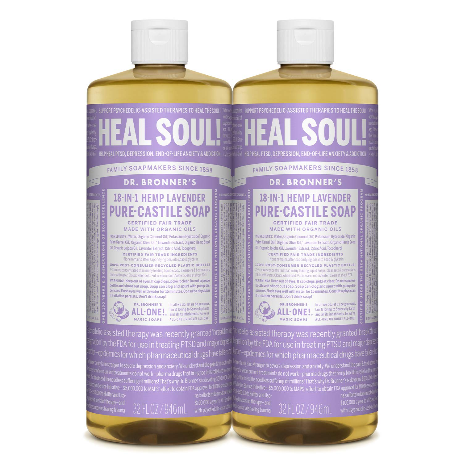 Dr. Bronner's - Pure-Castile Liquid Soap (Lavender, 32 ounce, 2-Pack) - Made with Organic Oils, 18-in-1 Uses: Face, Body, Hair, Laundry, Pets and Dishes, Concentrated, Vegan, Non-GMO : Bath Soaps : Beauty