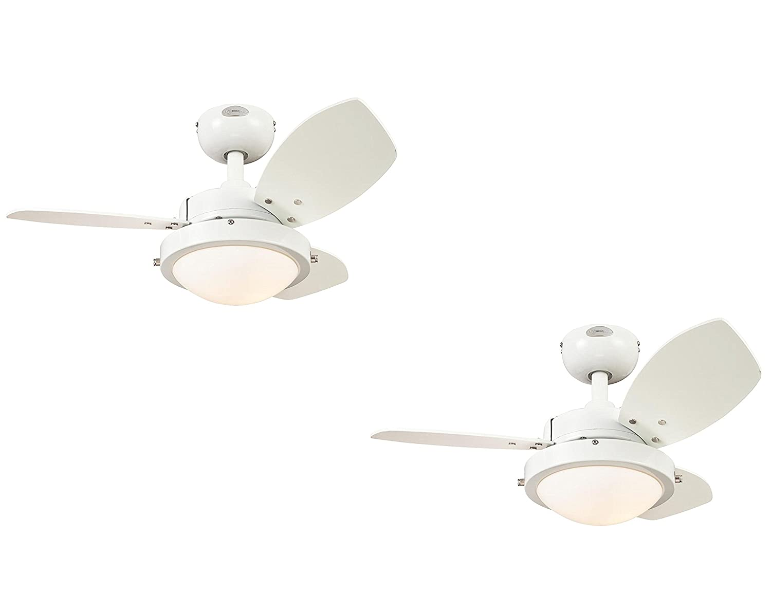 Westinghouse 7247200 Wengue Two-Light Reversible Three-Blade Indoor Ceiling Fan, 30-Inch, White Finish with Opal Frosted Glass - 2 Pack
