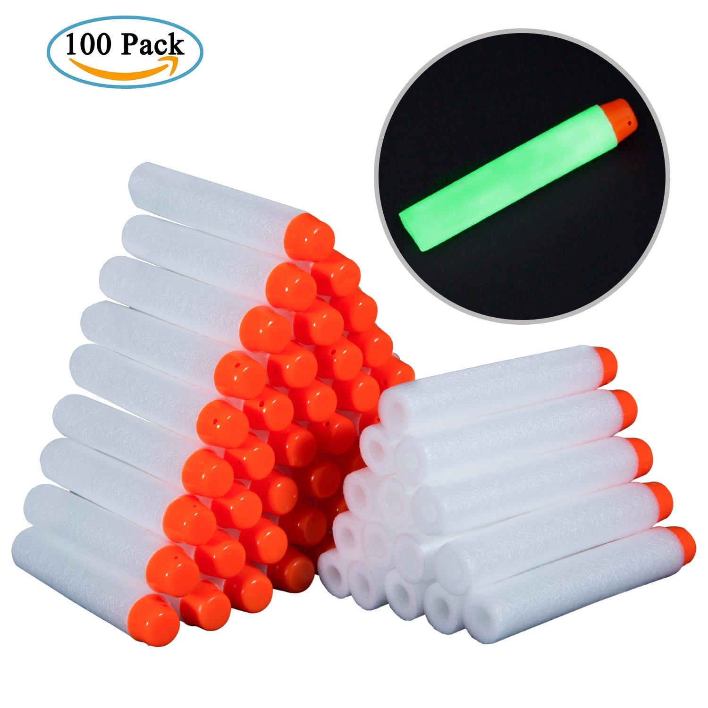 Meersee Foam Darts, 100pcs Glow in the Dark Soft Refill Bullet Replacement Foam Darts For Nerf N-strike Elite Series Blasters Kids Toy Gun