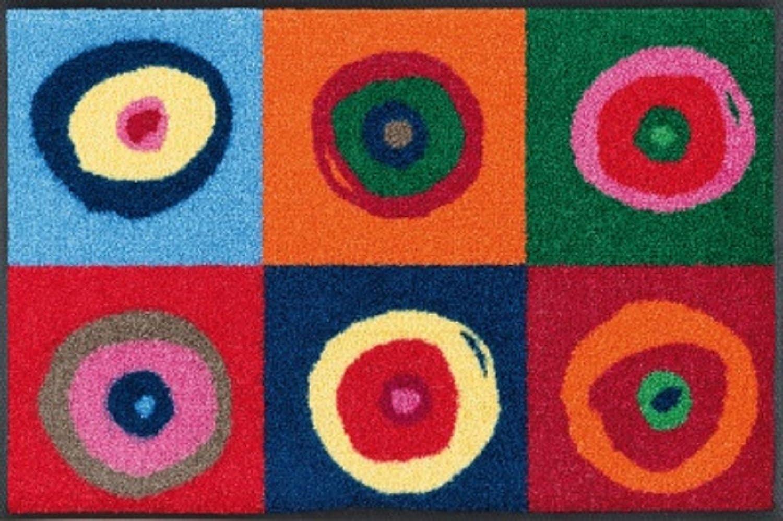 Flurläufer - Küchenläufer   Küchenmatte   Dekoläufer für Küche Bar oder Flur   Teppich Läüfer   Küchenläufer   Küchendeko Modell bunte Kreise ca. 75 x 120 cm
