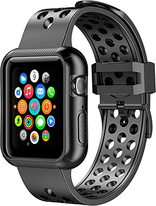 Pobon Funda Para Apple Watch Serie 5 Y Serie 4 1 732 In A Prueba De Golpes Correa Deportiva De Silicona Suave Para Apple Watch Serie 5 4 Clothing