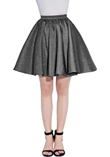 ca3710bf18 Udresses Women's Vintage Flared Gleaming Short Satin A-line Casual Mini  Skirts