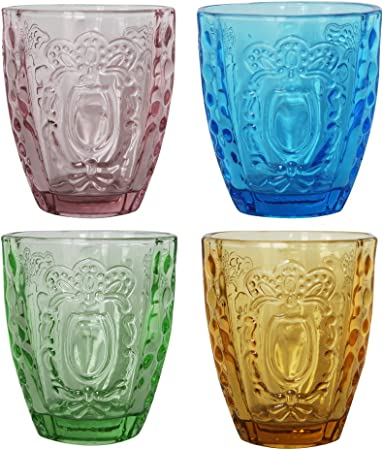 Pack 4 vasos de cristal, 4 colores: Amazon.es: Hogar