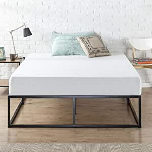 Zinus Joesph Modern Studio Industrial 15cm Double Bed Base Mattress Foundation Support - Metal Steel Frame Wood Slats Wooden
