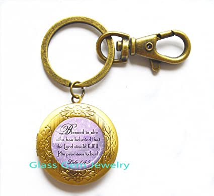 Christian Locket Key Ring Bible Quote Keychain Best Friend God Refuge Strength Birthday
