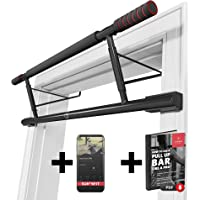 Pull-Up Bar for Door Frames without Screws / Drilling + Workout Guide – Professional Chin-Up Bar with Padded Handles | Extra Wide Workout Bar for Hanging in Doorway at Home | Mounting on Doors Indoor