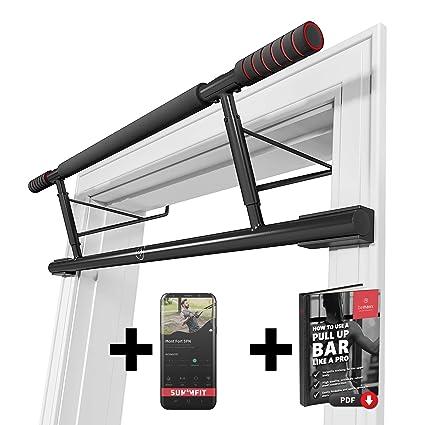 Barra de dominadas para marco de la puerta sin tornillos / taladro + guía de entrenamiento