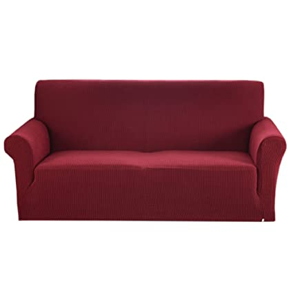Argstar Jacquard Sofa Cover Couch Slipcover Home Decor (Extra Large) Wine  Red