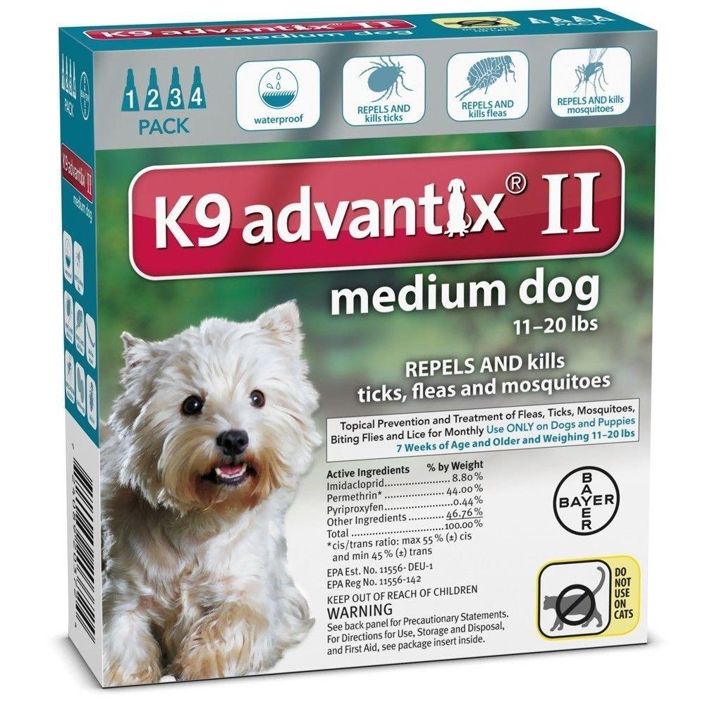 K9 Advantix ii Medium Dog 11-20 lbs 4 Packs Great Deal!