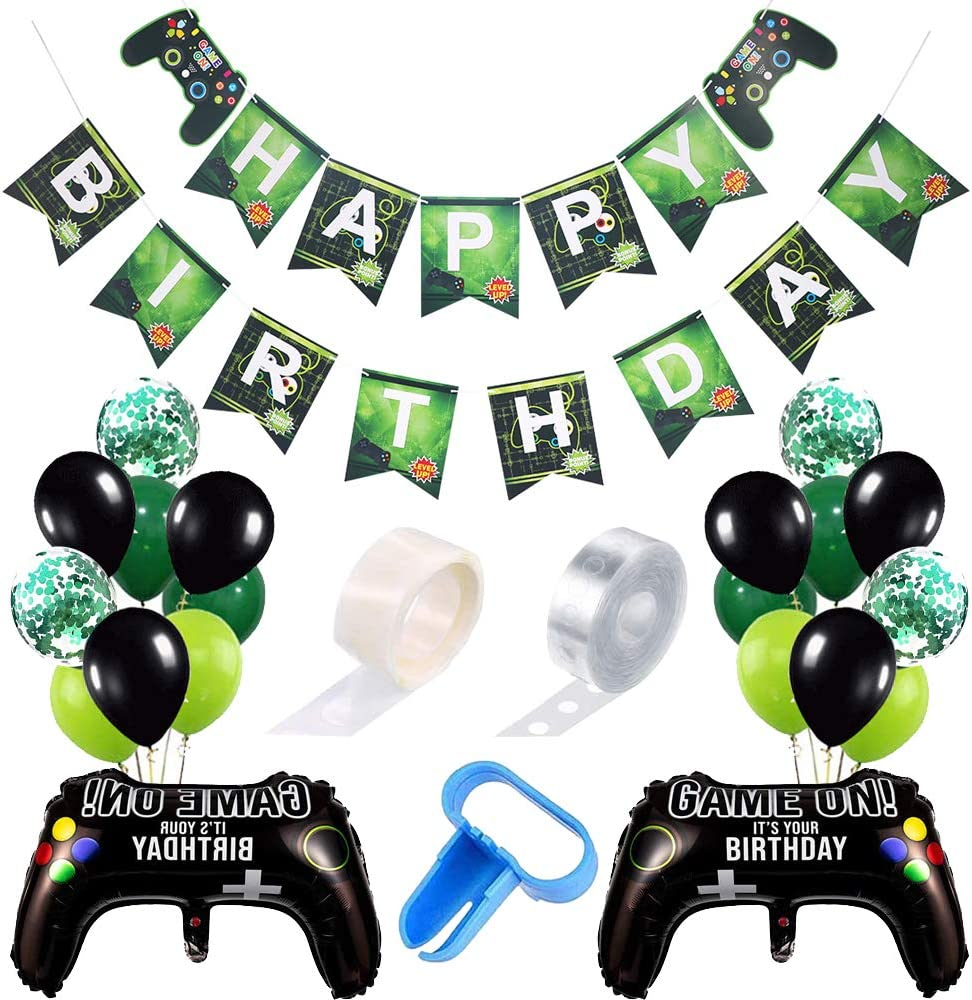 Haploon 116 Pieces Video Game Party Balloon Supplies,Video Game Party Balloons Game Controller Balloons Happy Birthday Gaming Banner Game on Welcome Hanging Decor and Game Themed for Wedding Birthday Baby Shower Decorations
