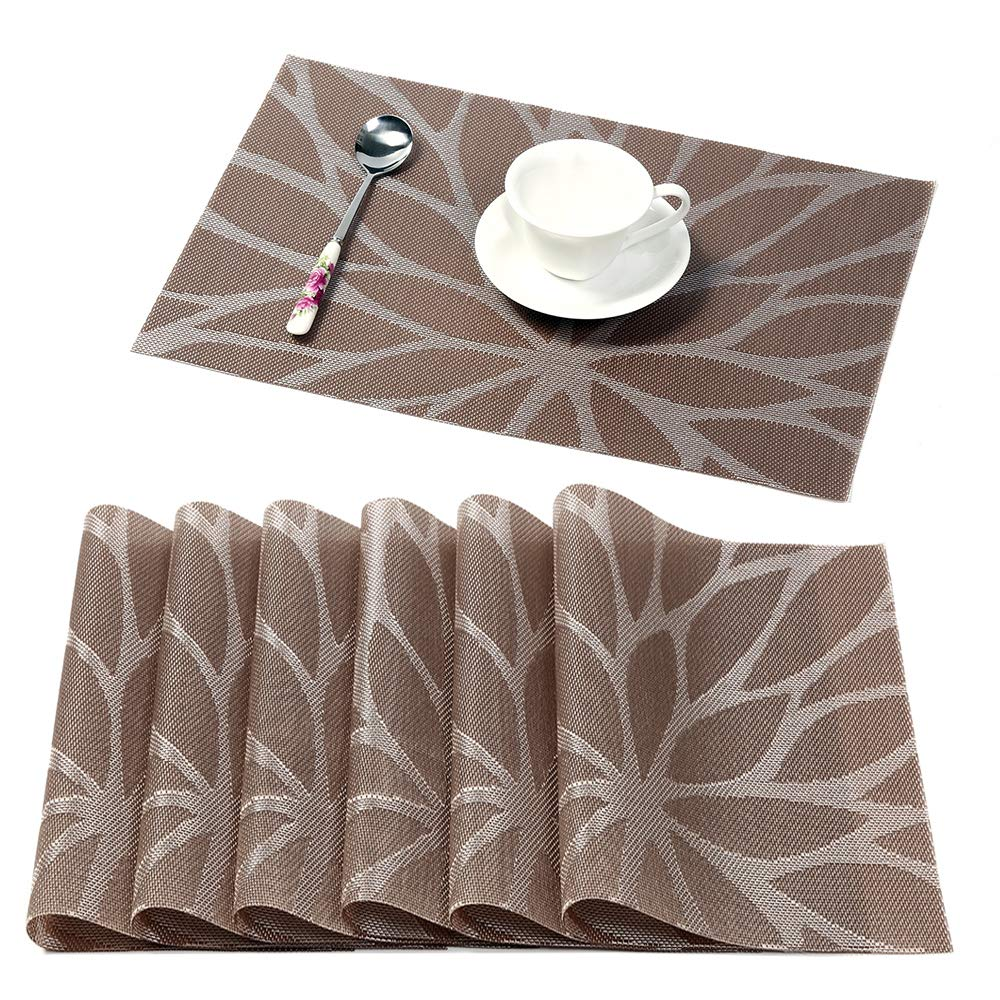 Pleasing Hebe Placemats For Dining Table Set Of 6 Heat Insulation Stain Resistant Kitchen Table Mats Non Slip Woven Vinyl Placemat Wipe Clean 6 Brown Download Free Architecture Designs Scobabritishbridgeorg