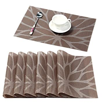 225 & HEBE Placemats for Dining Table Set of 6 Heat Insulation Stain Resistant Kitchen Table Mats Non Slip Woven Vinyl Placemat Wipe Clean(6 Brown)