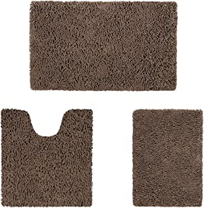 HOMEIDEAS 3 Pieces Bathroom Rugs Set Ultra Soft Non Slip and Absorbent Chenille Bath Rug, Brown Christmas Bathroom Rugs Plush Bath Mats for Tub, Shower, Bathroom