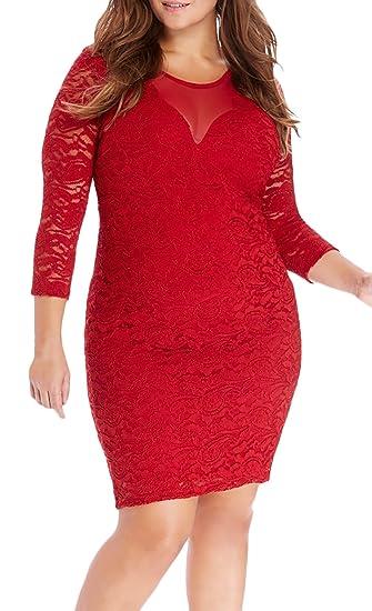 Vestidos Fiesta Mujer Elegantes Talla Grande Primavera Otoño Manga Largo Vestido Ajustado Vestido Casual De Encaje Cuello Redondo Vestido De Lápiz Vestido ...