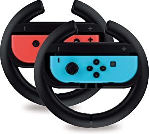 Steering Wheel Controller for Nintendo Switch (2 Pack) by TalkWorks | Racing Games Accessories Joy Con Controller Grip for Mario Kart, Black