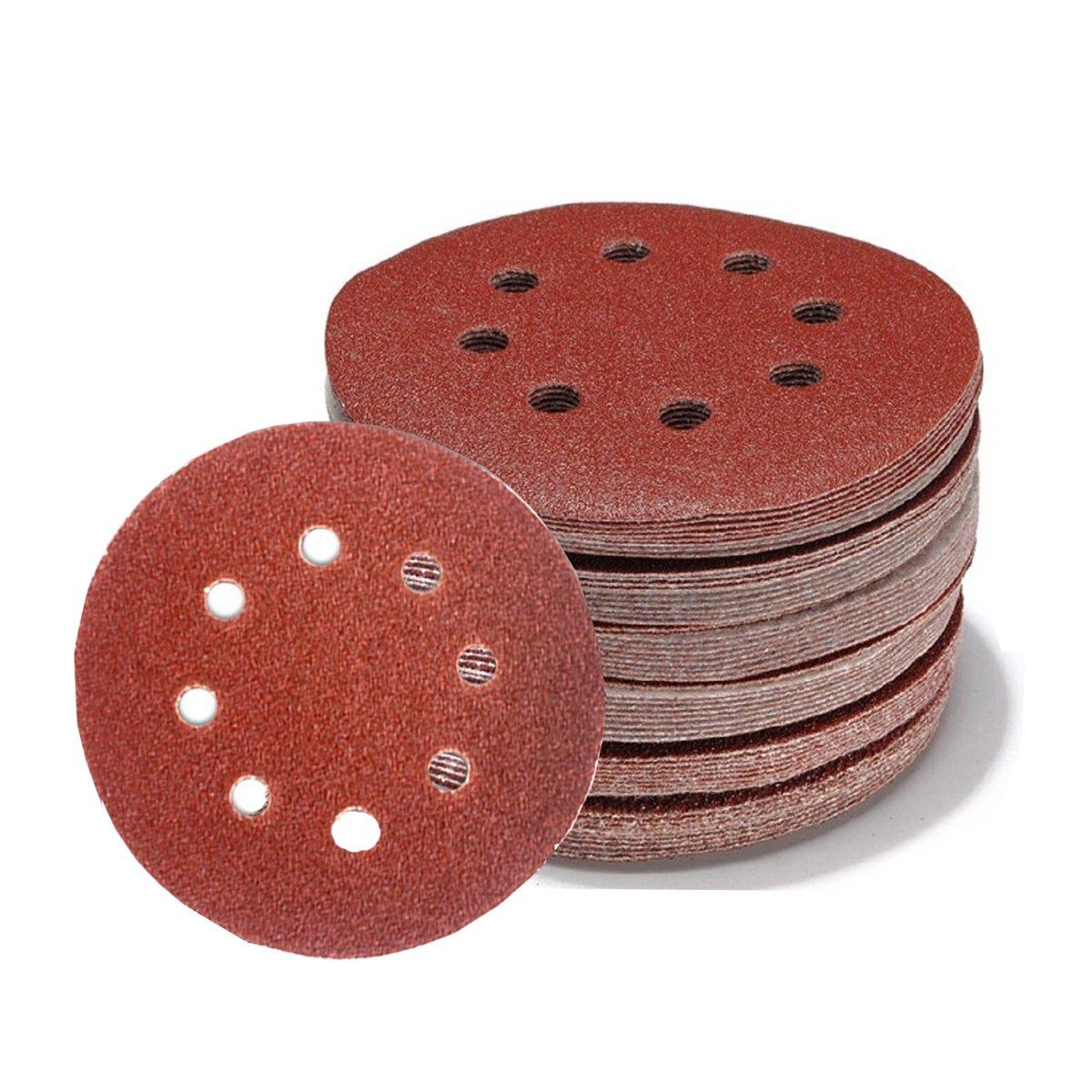 88 PCS Sandpaper Disc Pads 5 inch 8 Holes Sanding Discs Hook and Loop 60 80 100 120 150 180 240 320 400 600 800 Grit for Random Orbital Sander, Metal, Plastic Wood