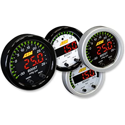 AEM 30-0306 X-SERIES TURBO BOOST PRESSURE DISPLAY GAUGE 35PSI + WHITE FACE KIT: Automotive