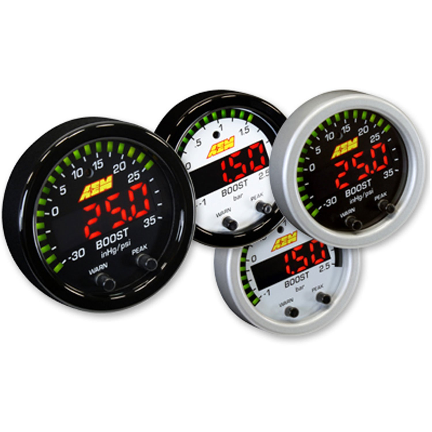 AEM 30-0306 X-SERIES TURBO BOOST PRESSURE DISPLAY GAUGE 35PSI + WHITE FACE KIT