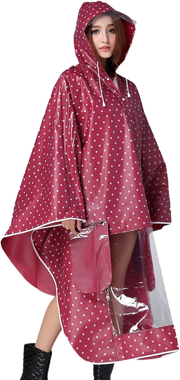 Rot Sasairy Damen Regenponcho mit Kapuze Regenmantel mit Tupfen Muster Wasserdicht Regenjacke f/ür Fahrrad//Motorrad//Reisen//Camping//Wandern