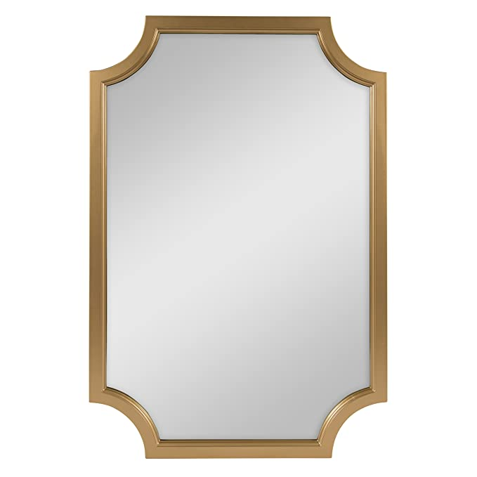 Kate and Laurel Hogan Scallop Corners Wood Framed Mirror, 24 x 36, Gold