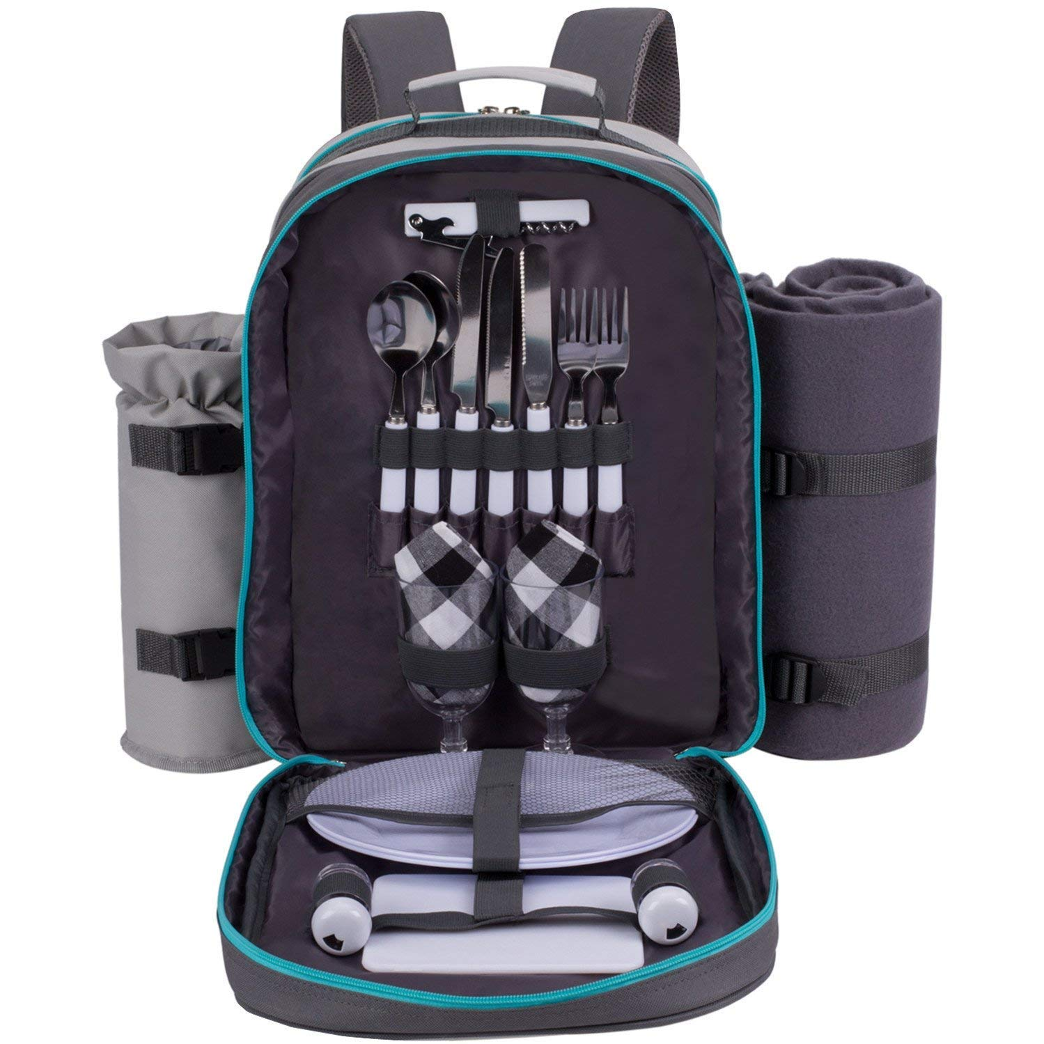 ALLCAMP 2 Person Picnic Backpack Hamper with Cooler Bag includes Tableware & Fleece Blanket