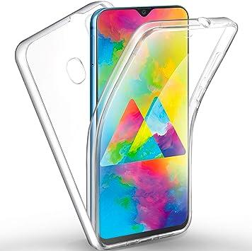 AROYI Coque Samsung M20, Samsung Galaxy M20 Transparent Housse Silicone TPU Gel et PC Rigide 360 Degres Protection Anti Choc Full Body Etui Case pour ...