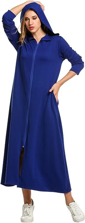 UNibelle Donna Vestaglia e Kimono Scollo a V Accappatoio Lungo con 2 Tasche Cappuccio Manica Lunga da Notte Nightdress