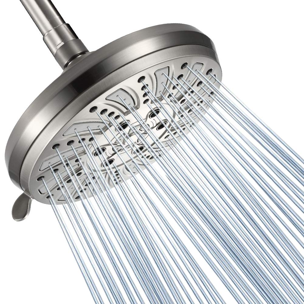 GICEEPO High Pressure Shower Head with Spray 6 setting over showerhead Spa-Like Shower Experience Brushed Nickel
