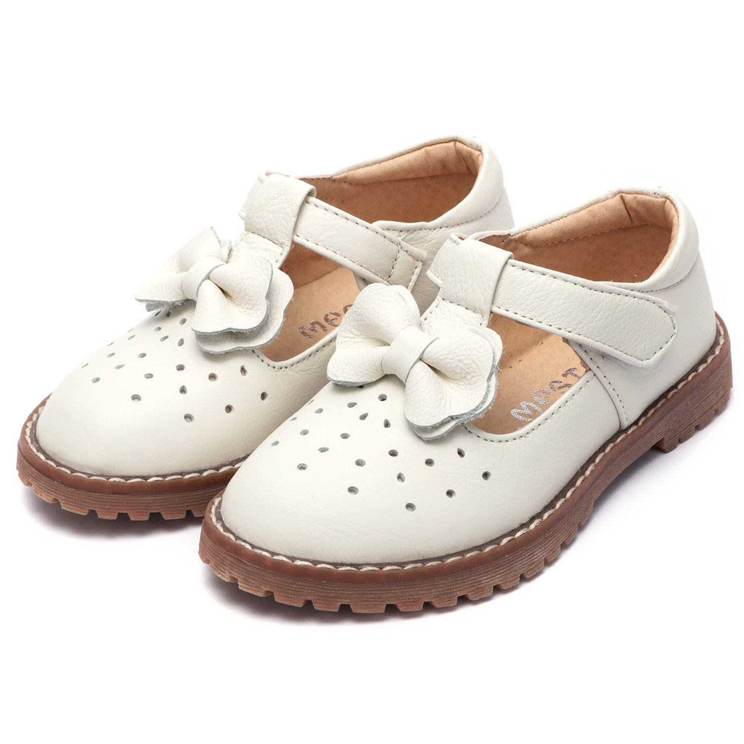 Ubella Kids Toddler Girls Retro T Bar Princess Dress Shoes Leather Strap Mary Jane Flat Oxford Shoes Loafers Girls
