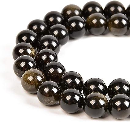 Round mala bead destash in bulk. 30 pcs Large drilled natural stone beads 8mm black silk stone beads for jewelry making /& DIY crafts
