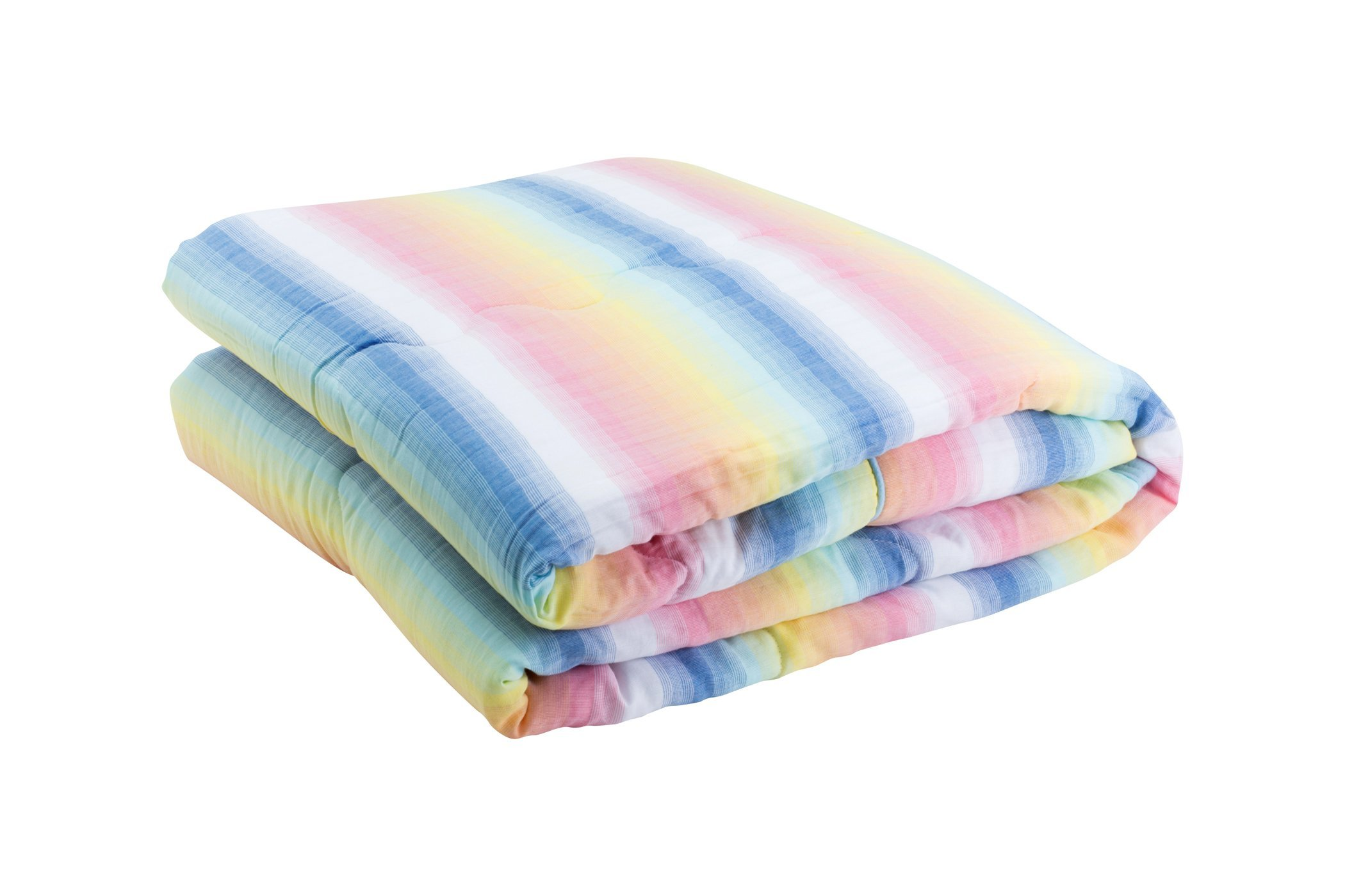 Henry and Brothers Cotton Cloud Kids' Quilt Bunk Bed Size, (Ombre Rainbow Stripe)