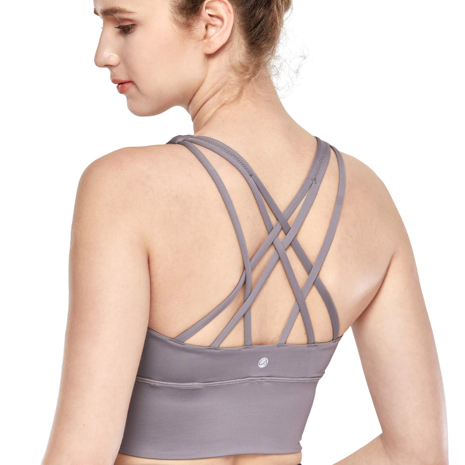 CRZ YOGA Strappy Sports Bras for Women Longline Wirefree Padded Medium Support Yoga Bra Top Lunar Rock L by CRZ YOGA