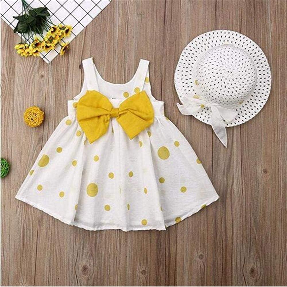 Baby Girls Floral Big Bowknot Sundress Dots Print Sleeveless Dress Sun Hat Set
