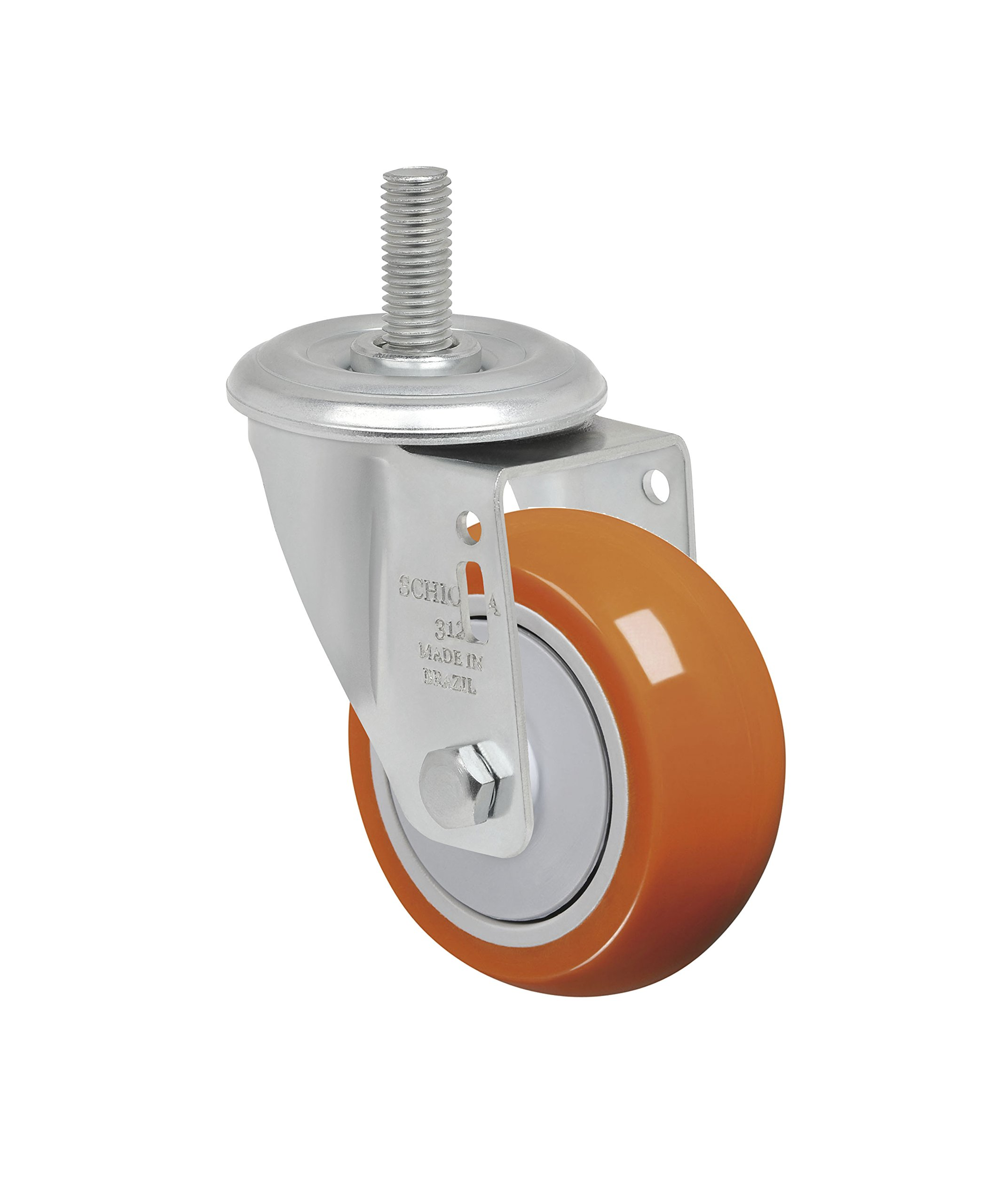 Schioppa L12 Series, GLEEF 312 UPE, 3 x 1-1/4'' Swivel Caster, Non-Marking Polyurethane Precision Ball Bearing Wheel, 175 lbs, 3/8'' Diameter x 1-1/2'' Length Threaded Stem