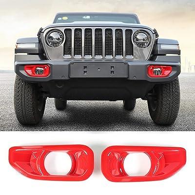 RT-TCZ Front Turn Signal Light Cover Guard Aluminum Star Front Lamp Cover Blinker Insert Guard Cover Trim 2 Pcs for Jeep Wrangler 2020-2020 JK 2 Door & JKU Unlimited 4 Door Red Color: Automotive