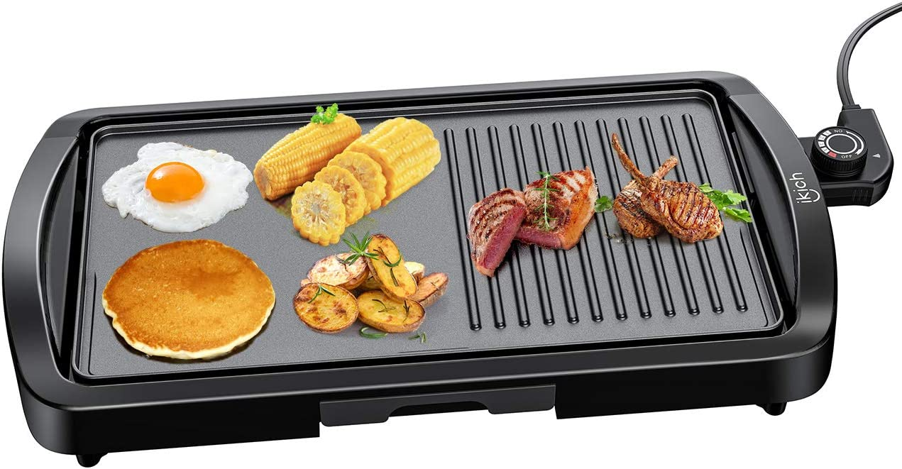IKICH Electric Griddle, 1600W Indoor Smokeless Nonstick Electric Pancake Grill with Drip Tray, 2-in-1 Electric Griddle Grill with Cool-touch Handle, Black