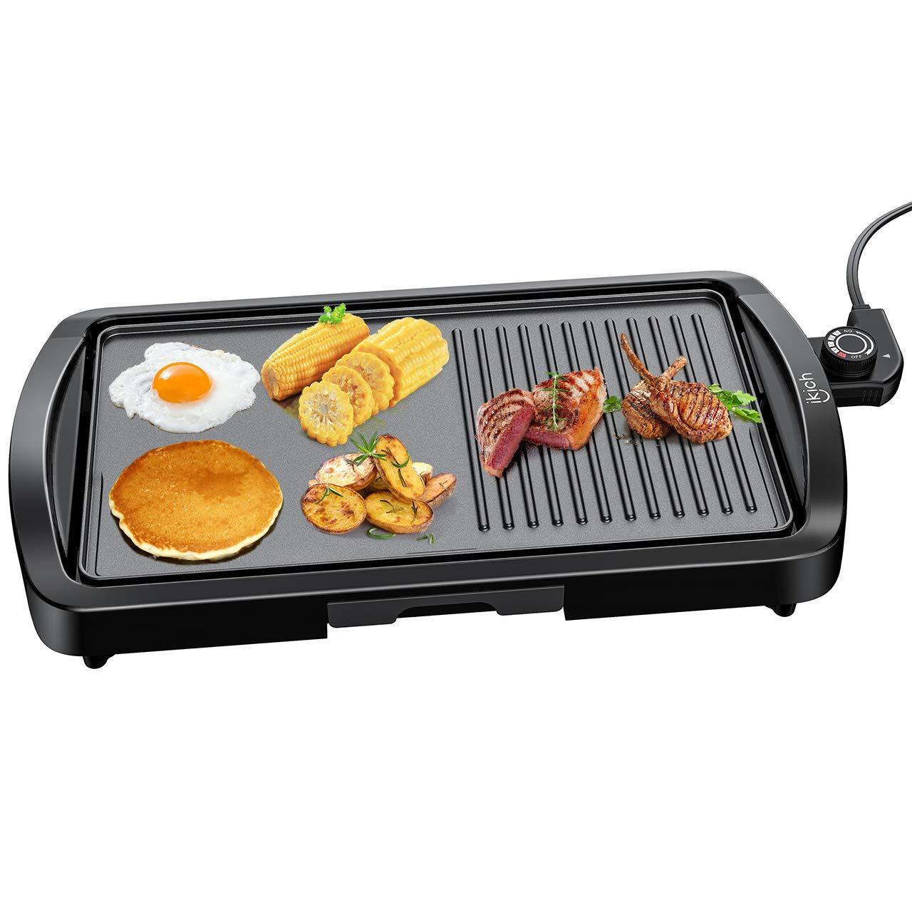 Electric Griddle, IKICH 2-in-1 Grill Griddle, 1600W Smokeless Nonstick Indoor Grill with Drip Tray, Family-sized Pancake grill for Indoor, Outdoor, Camping, Even Heating, Cool-touch Handle by IKICH