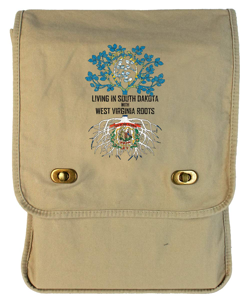 Tenacitee Living In South Dakota with West Virginia Roots Grey Brushed Canvas Messenger Bag
